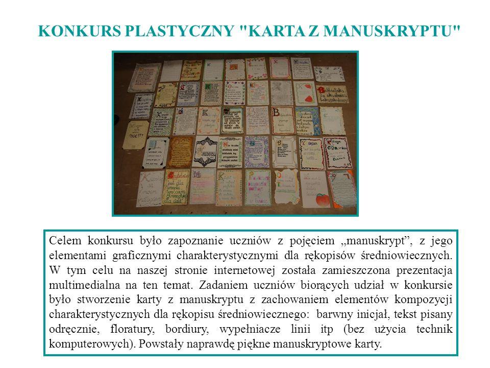 KONKURS PLASTYCZNY KARTA Z MANUSKRYPTU