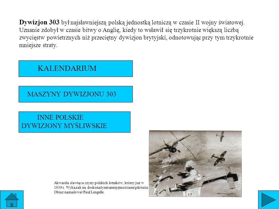 Dywizjon 303 był najsławniejszą polską jednostką lotniczą w czasie II wojny światowej. Uznanie zdobył w czasie bitwy o Anglię, kiedy to wsławił się trzykrotnie większą liczbą zwycięstw powietrznych niż przeciętny dywizjon brytyjski, odnotowując przy tym trzykrotnie mniejsze straty.