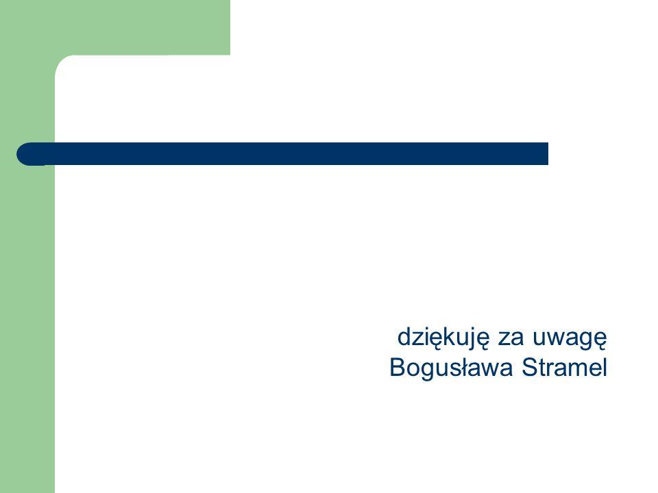 dziękuję za uwagę Bogusława Stramel