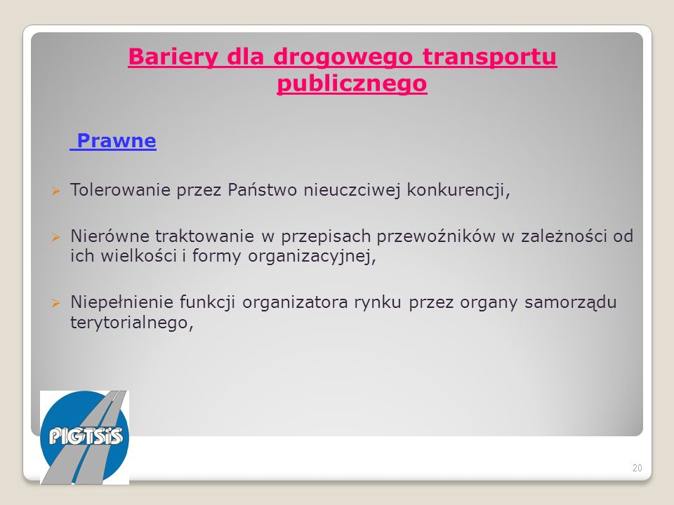 Bariery dla drogowego transportu publicznego