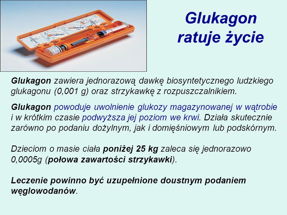 Glukagon ratuje życieGlukagon zawiera jednorazową dawkę biosyntetycznego ludzkiego glukagonu (0,001 g) oraz strzykawkę z rozpuszczalnikiem.