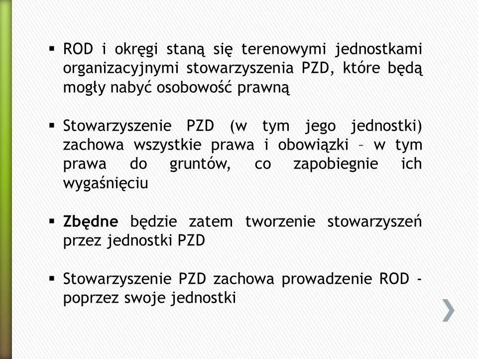 ROD i okręgi staną się terenowymi jednostkami organizacyjnymi stowarzyszenia PZD, które będą mogły nabyć osobowość prawną