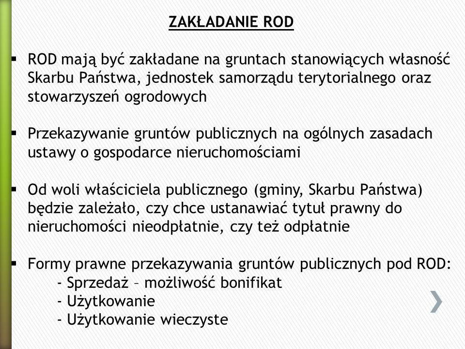 Formy prawne przekazywania gruntów publicznych pod ROD: