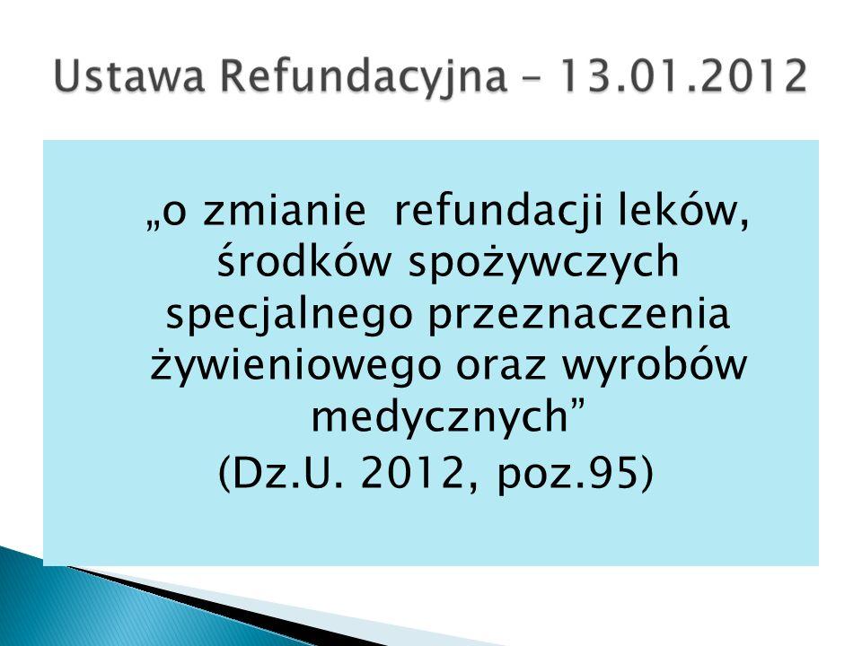 """""""o zmianie refundacji leków, środków spożywczych specjalnego przeznaczenia żywieniowego oraz wyrobów medycznych"""