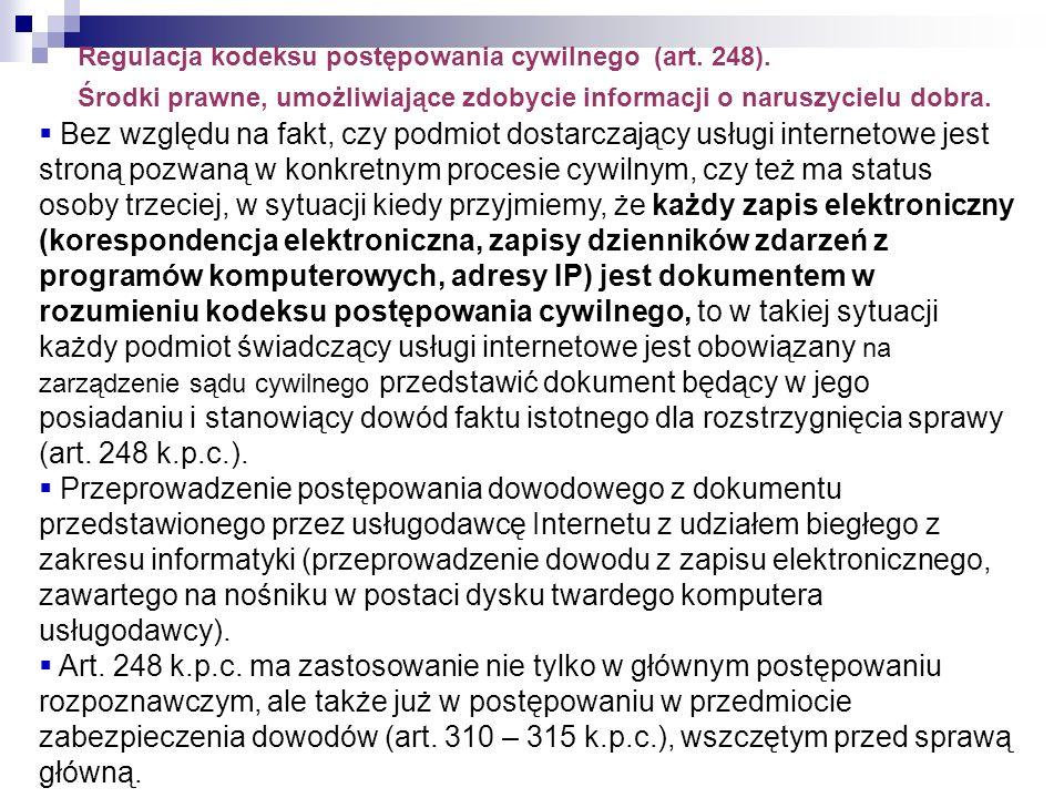 Regulacja kodeksu postępowania cywilnego (art. 248)