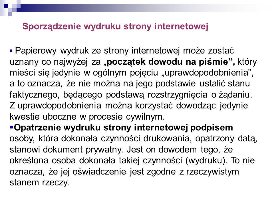 Sporządzenie wydruku strony internetowej