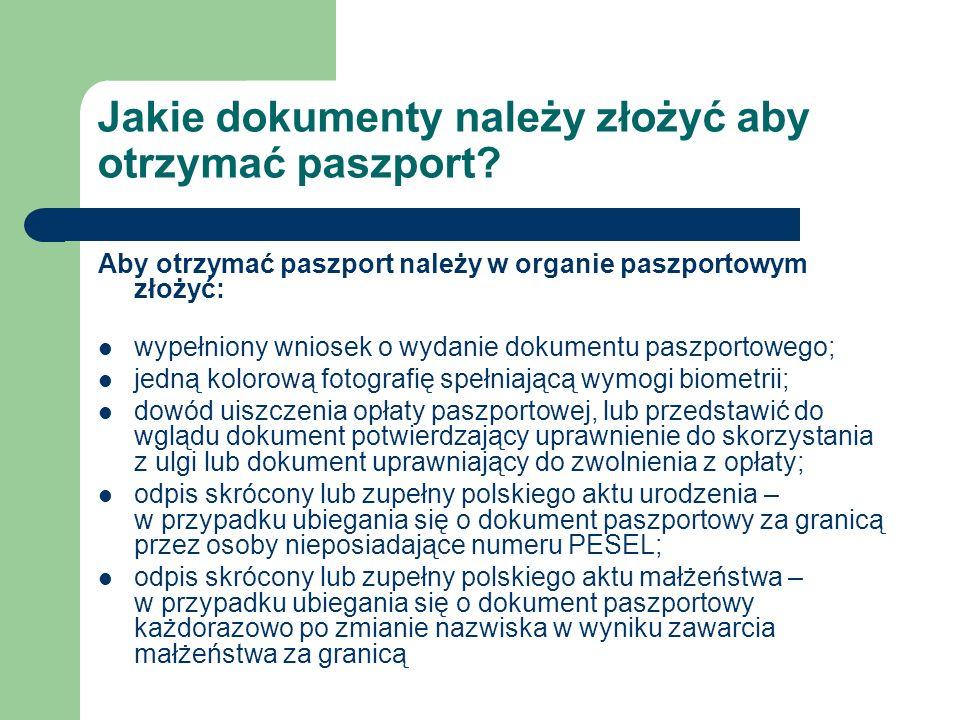 Jakie dokumenty należy złożyć aby otrzymać paszport