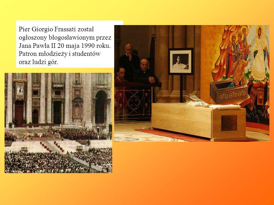 Pier Giorgio Frassati został ogłoszony błogosławionym przez Jana Pawła II 20 maja 1990 roku.
