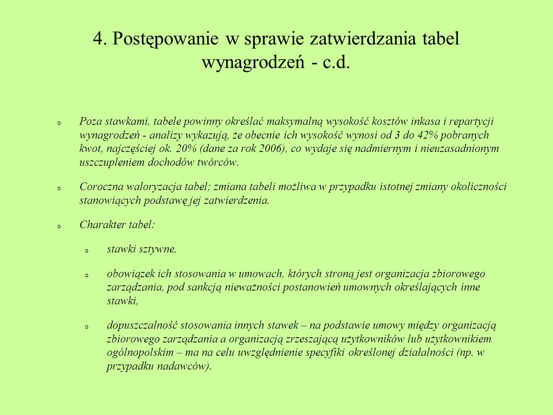 4. Postępowanie w sprawie zatwierdzania tabel wynagrodzeń - c.d.