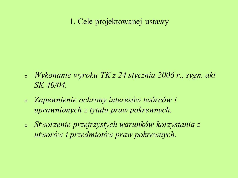 1. Cele projektowanej ustawy
