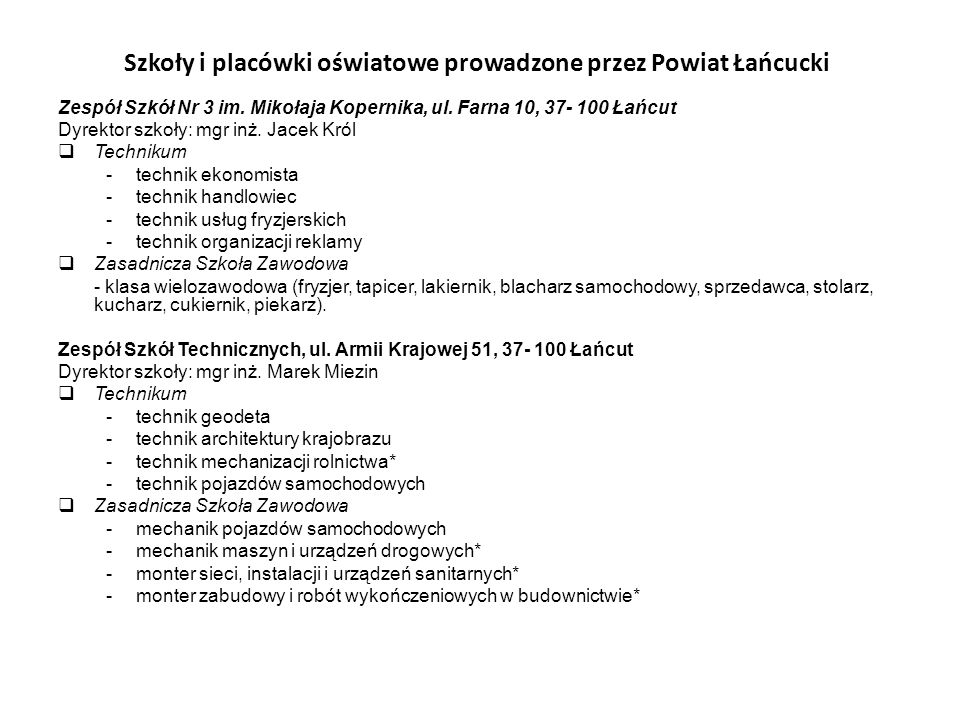 Szkoły i placówki oświatowe prowadzone przez Powiat Łańcucki
