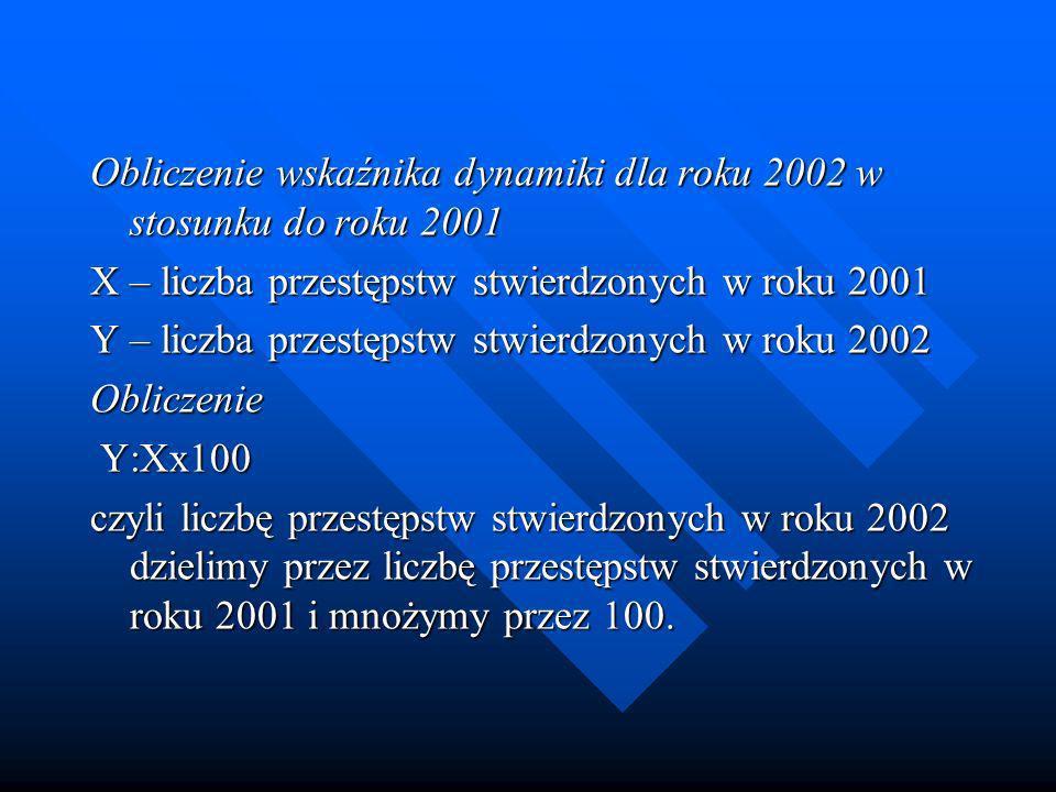 Obliczenie wskaźnika dynamiki dla roku 2002 w stosunku do roku 2001