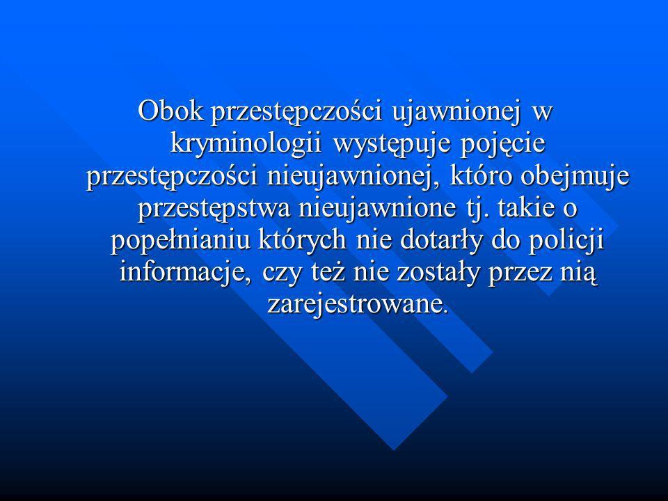Obok przestępczości ujawnionej w kryminologii występuje pojęcie przestępczości nieujawnionej, któro obejmuje przestępstwa nieujawnione tj.