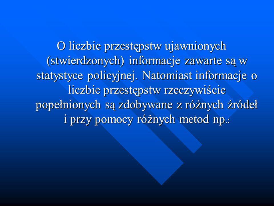 O liczbie przestępstw ujawnionych (stwierdzonych) informacje zawarte są w statystyce policyjnej.