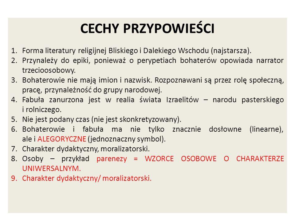 CECHY PRZYPOWIEŚCI Forma literatury religijnej Bliskiego i Dalekiego Wschodu (najstarsza).