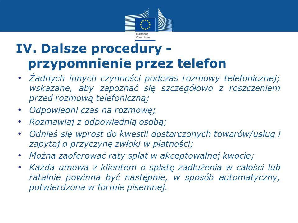 IV. Dalsze procedury - przypomnienie przez telefon