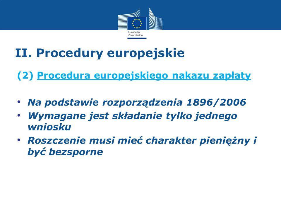 II. Procedury europejskie