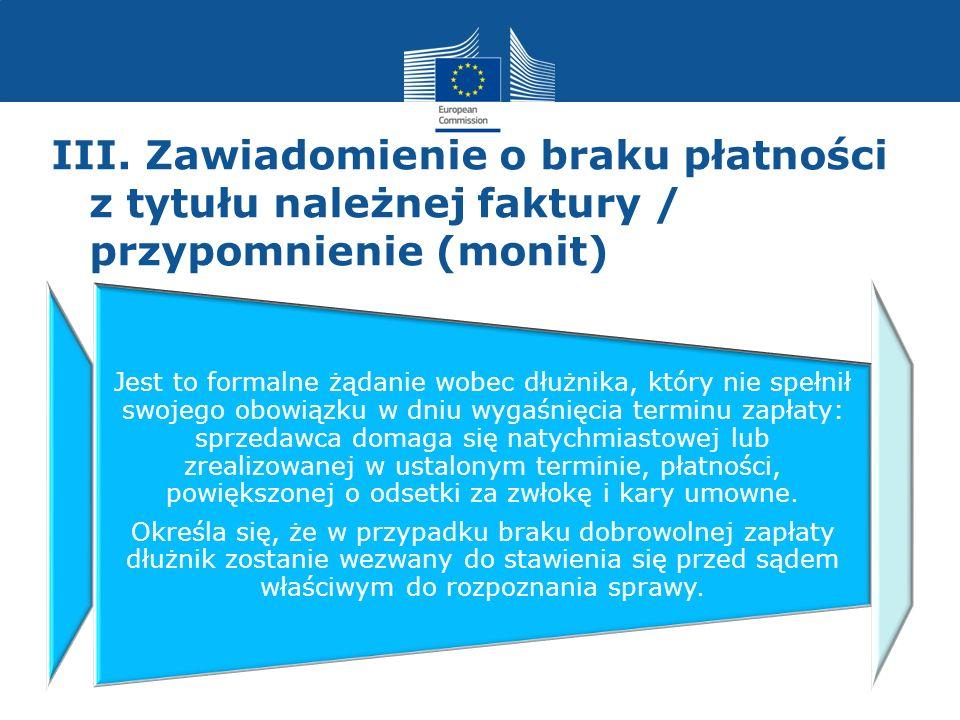 III. Zawiadomienie o braku płatności z tytułu należnej faktury / przypomnienie (monit)