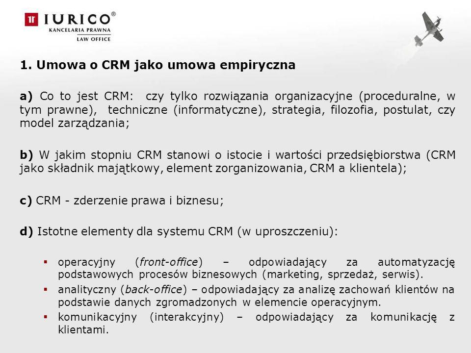 1. Umowa o CRM jako umowa empiryczna