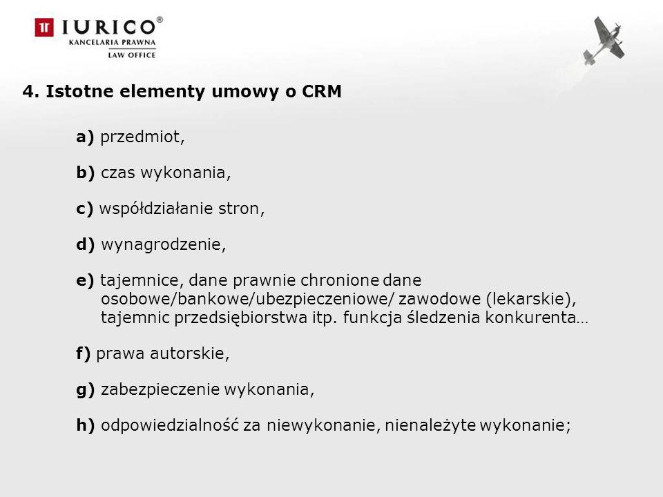 4. Istotne elementy umowy o CRM