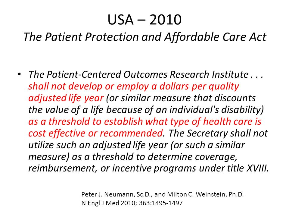 USA – 2010 The Patient Protection and Affordable Care Act