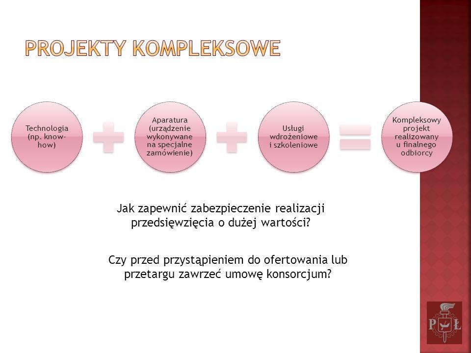Projekty kompleksowe Technologia (np. know-how) Aparatura (urządzenie wykonywane na specjalne zamówienie)