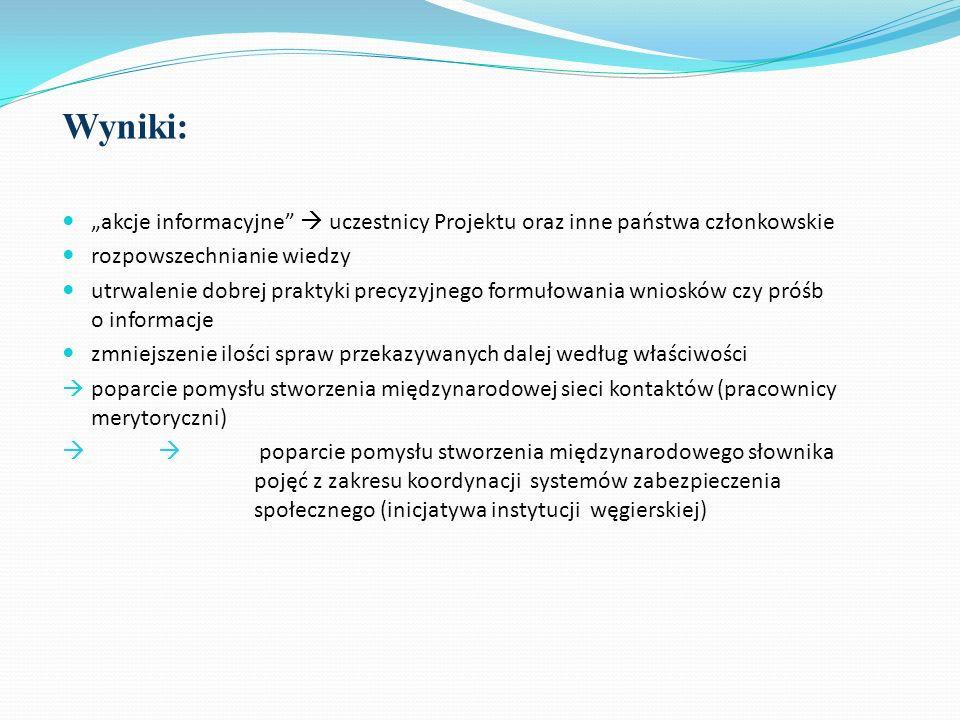 """Wyniki: """"akcje informacyjne  uczestnicy Projektu oraz inne państwa członkowskie. rozpowszechnianie wiedzy."""
