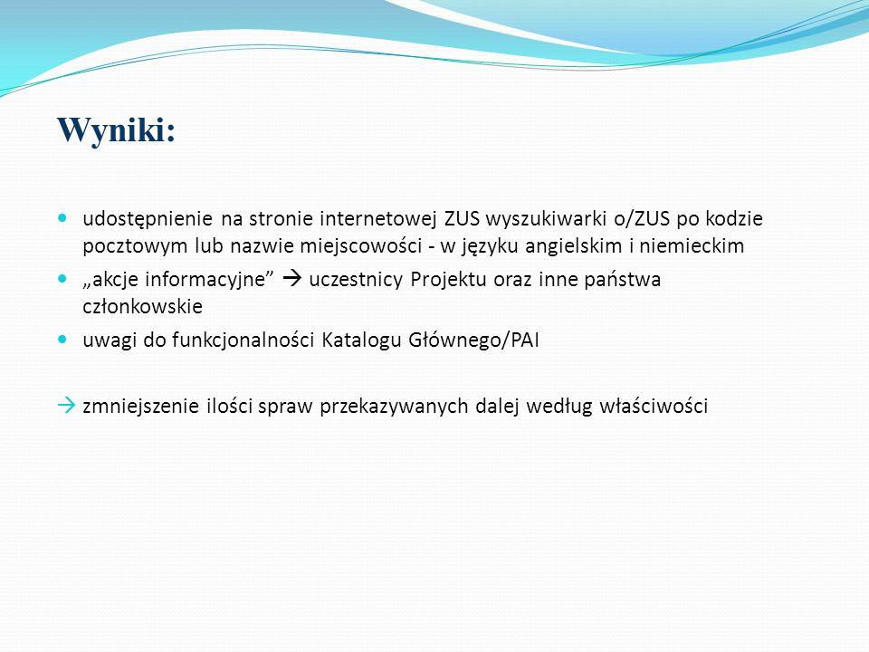 Wyniki: udostępnienie na stronie internetowej ZUS wyszukiwarki o/ZUS po kodzie pocztowym lub nazwie miejscowości - w języku angielskim i niemieckim.