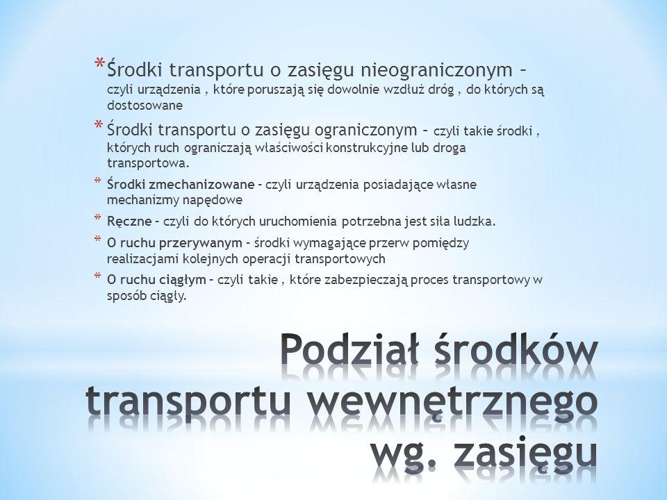 Podział środków transportu wewnętrznego wg. zasięgu
