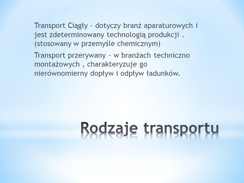 Transport Ciągły – dotyczy branż aparaturowych i jest zdeterminowany technologią produkcji . (stosowany w przemyśle chemicznym) Transport przerywany – w branżach techniczno montażowych , charakteryzuje go nierównomierny dopływ i odpływ ładunków.
