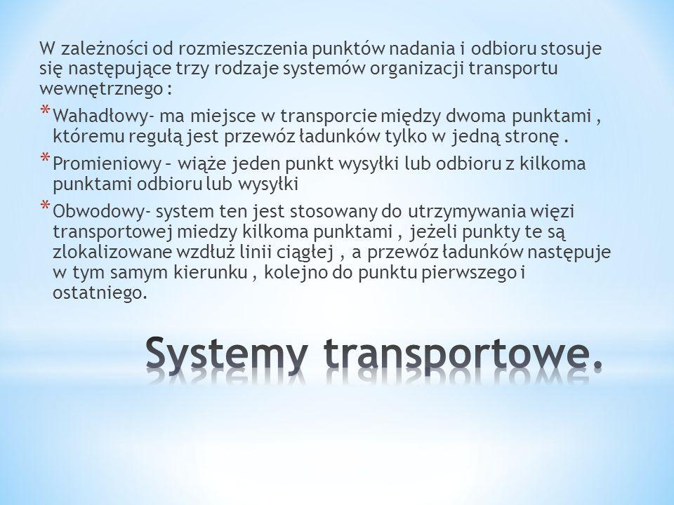 W zależności od rozmieszczenia punktów nadania i odbioru stosuje się następujące trzy rodzaje systemów organizacji transportu wewnętrznego :