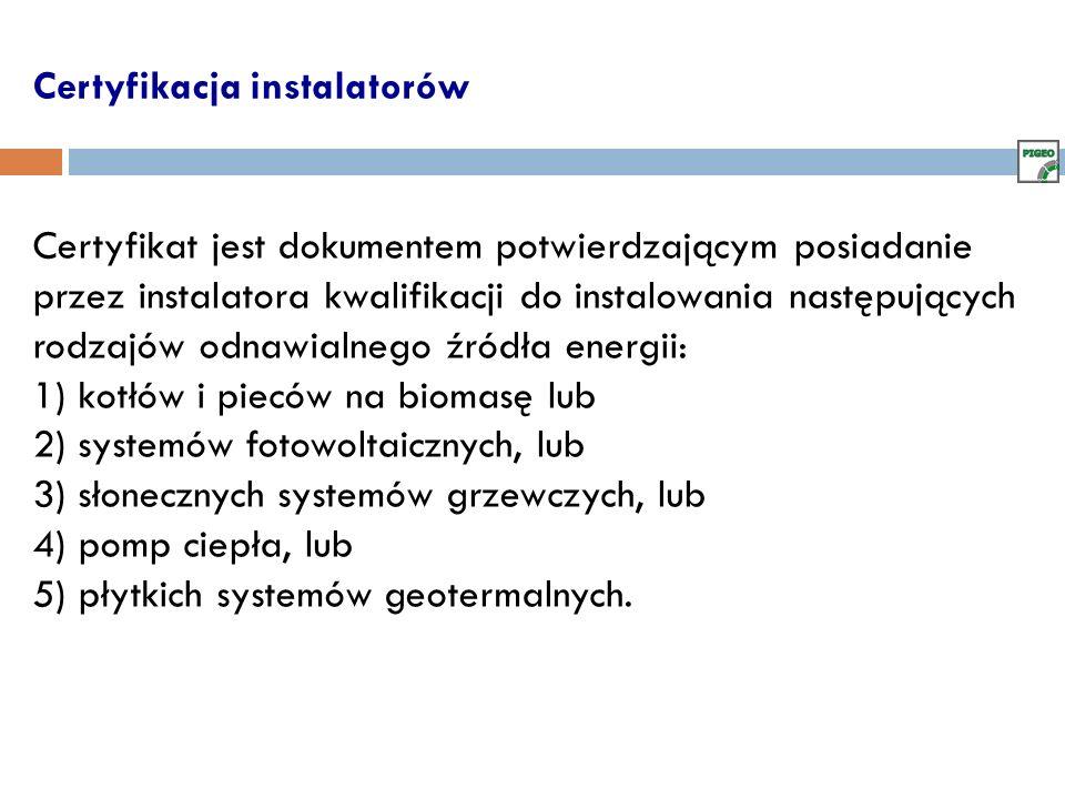Certyfikacja instalatorów