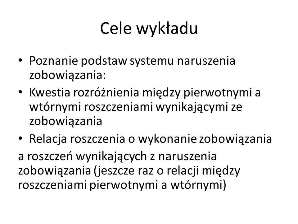 Cele wykładu Poznanie podstaw systemu naruszenia zobowiązania: