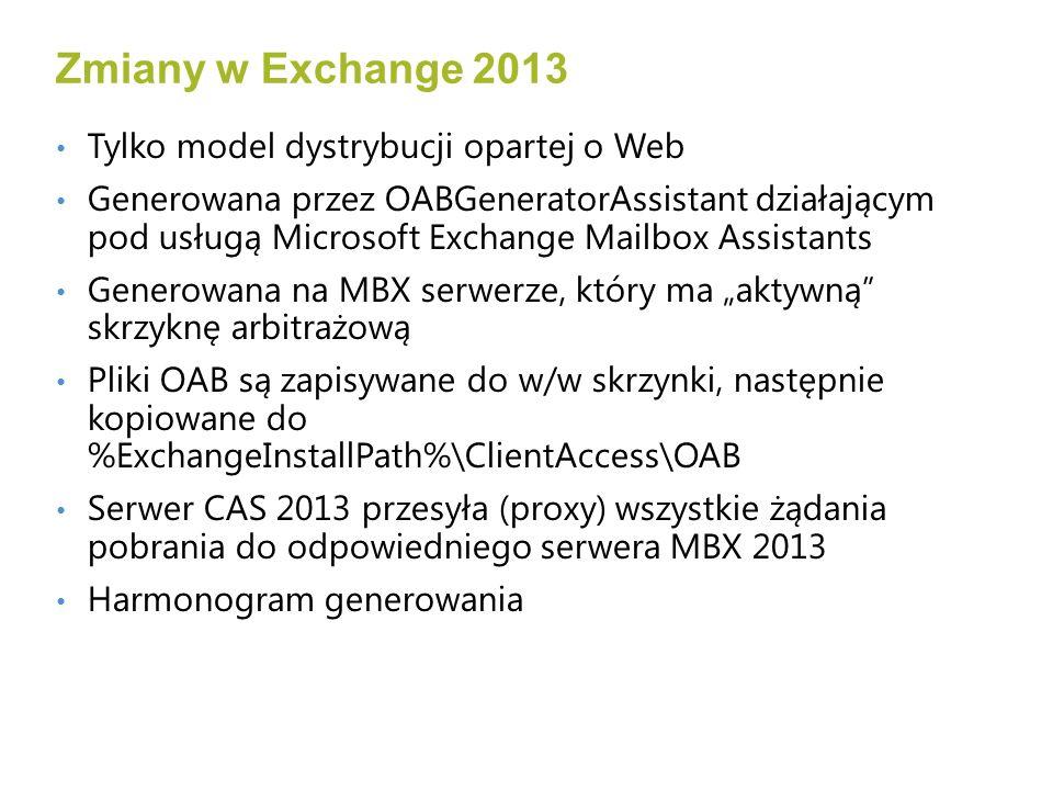 Zmiany w Exchange 2013 Tylko model dystrybucji opartej o Web