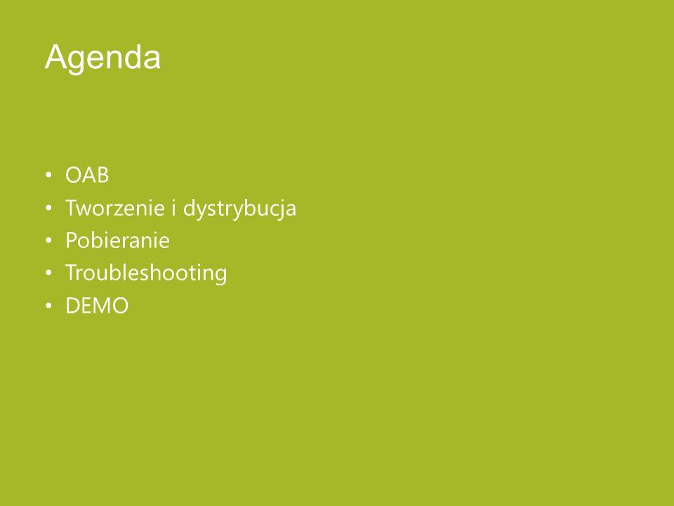 Agenda OAB Tworzenie i dystrybucja Pobieranie Troubleshooting DEMO