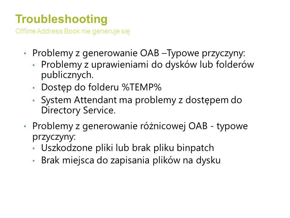 Troubleshooting Problemy z generowanie OAB –Typowe przyczyny: