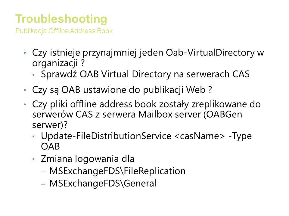 Troubleshooting Publikacja Offline Address Book. Czy istnieje przynajmniej jeden Oab-VirtualDirectory w organizacji