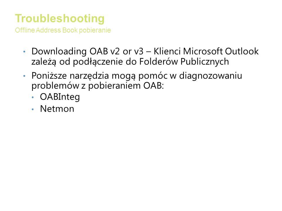 Troubleshooting Offline Address Book pobieranie. Downloading OAB v2 or v3 – Klienci Microsoft Outlook zależą od podłączenie do Folderów Publicznych.