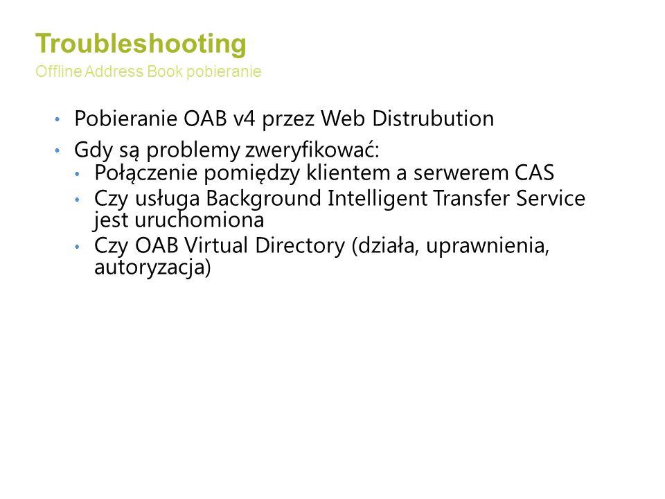 Troubleshooting Pobieranie OAB v4 przez Web Distrubution