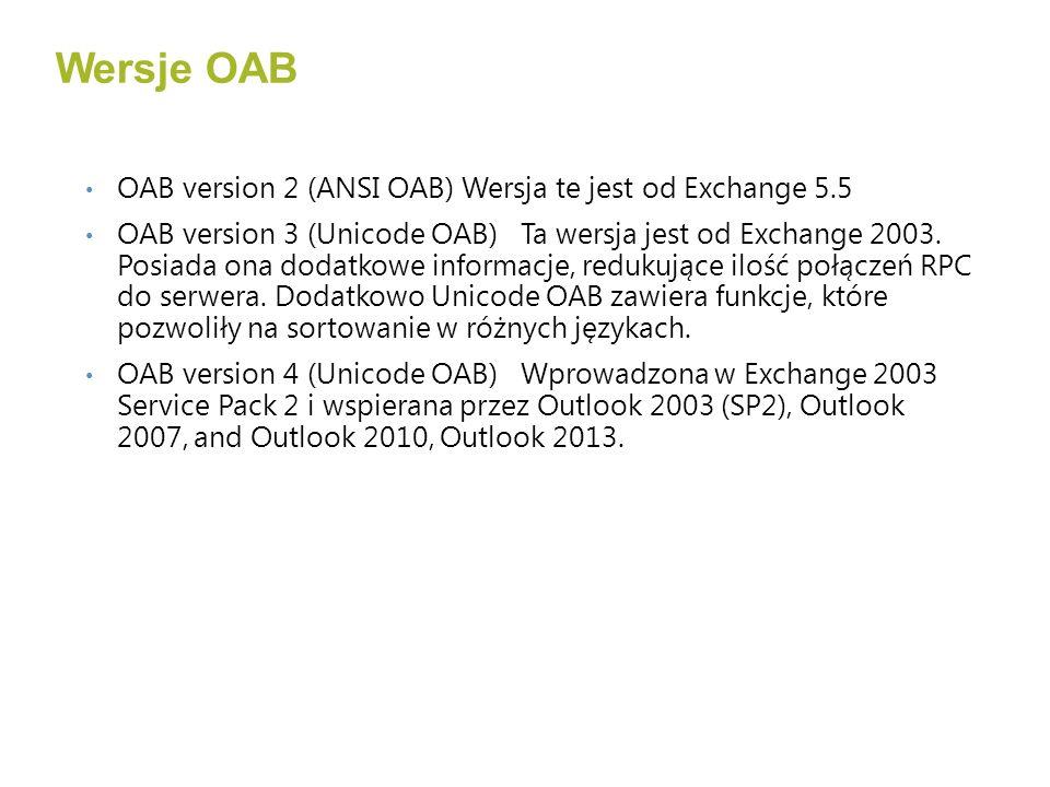 Wersje OAB OAB version 2 (ANSI OAB) Wersja te jest od Exchange 5.5