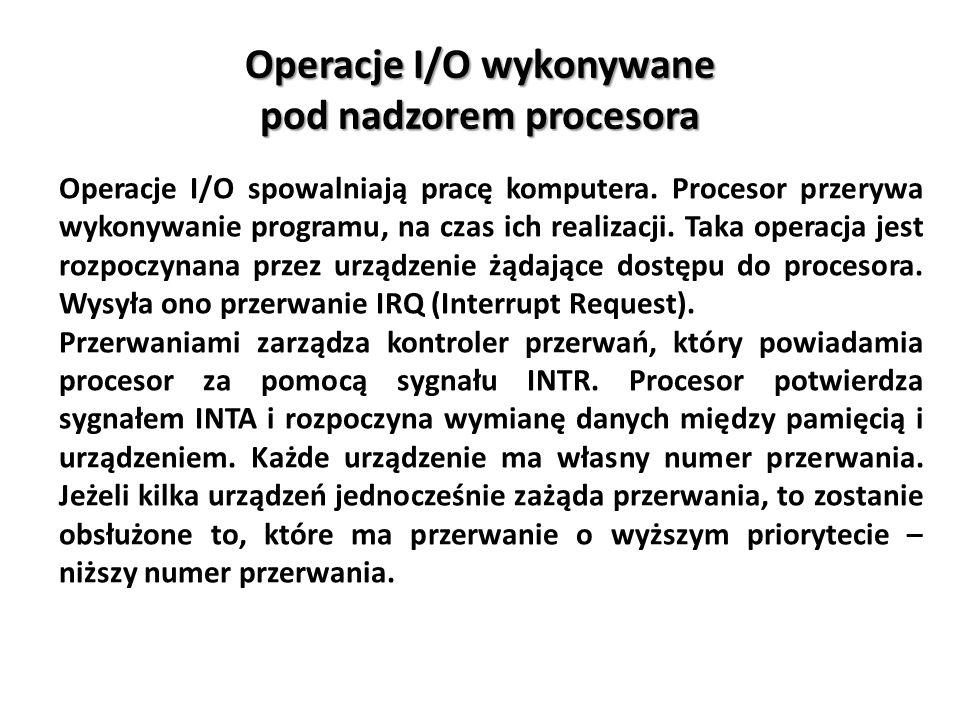Operacje I/O wykonywane pod nadzorem procesora