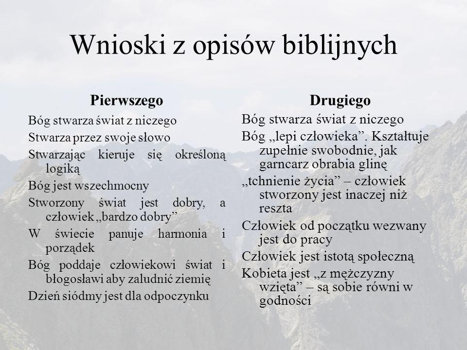 Wnioski z opisów biblijnych