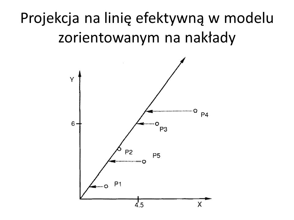 Projekcja na linię efektywną w modelu zorientowanym na nakłady