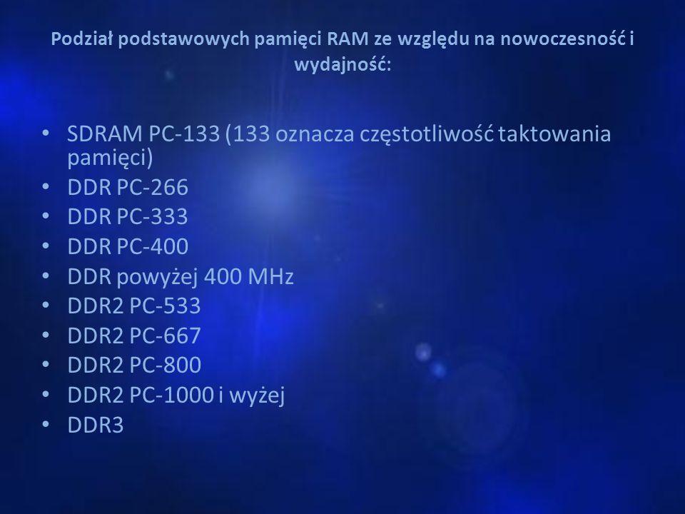 SDRAM PC-133 (133 oznacza częstotliwość taktowania pamięci) DDR PC-266