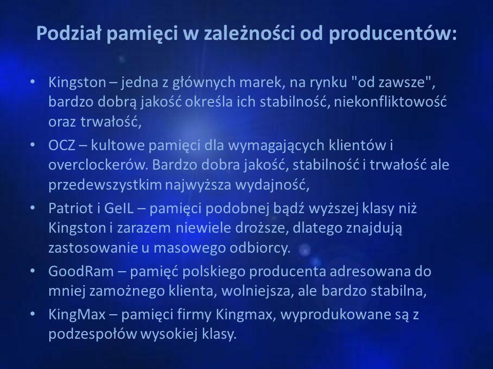 Podział pamięci w zależności od producentów: