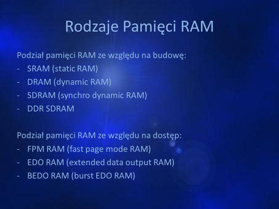 Rodzaje Pamięci RAM Podział pamięci RAM ze względu na budowę: