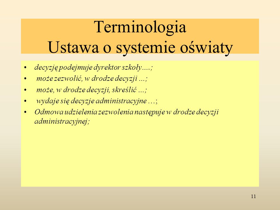 Terminologia Ustawa o systemie oświaty