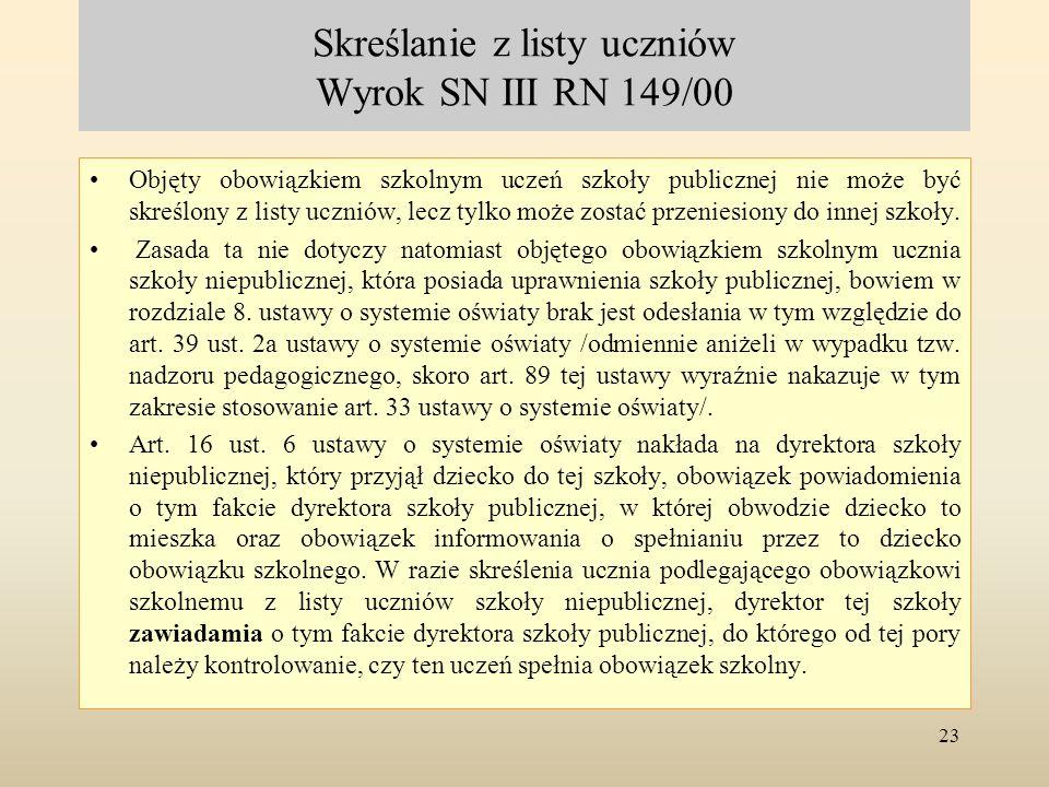 Skreślanie z listy uczniów Wyrok SN III RN 149/00