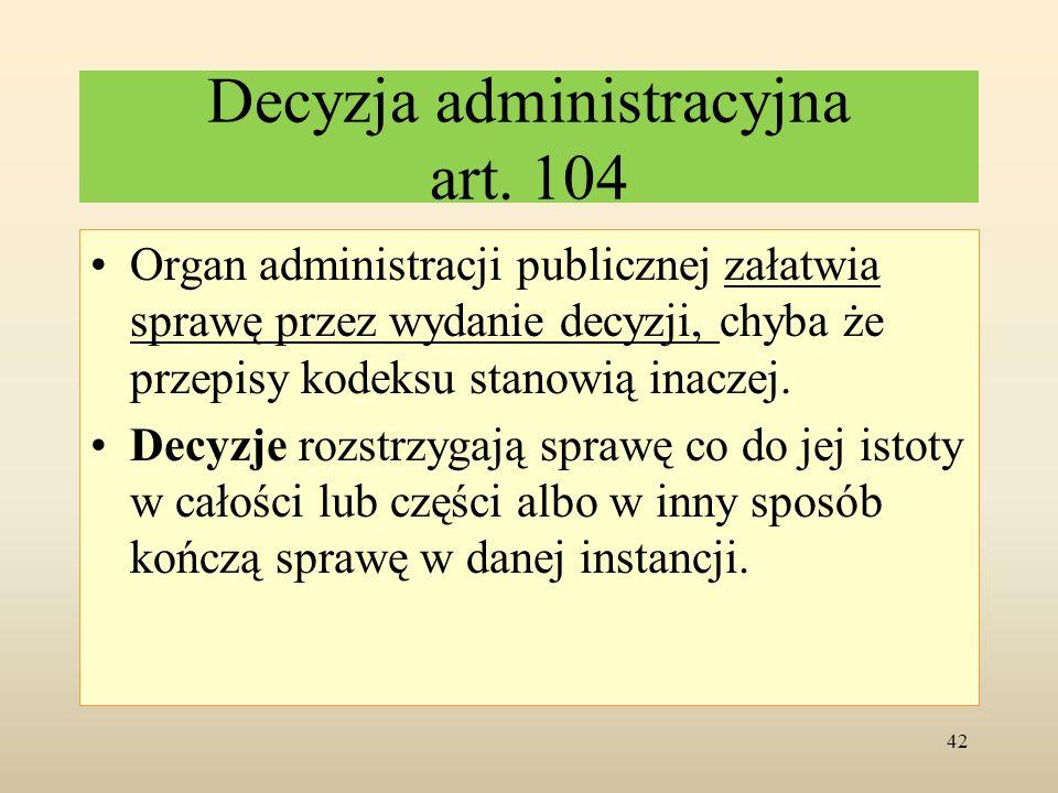 Decyzja administracyjna art. 104