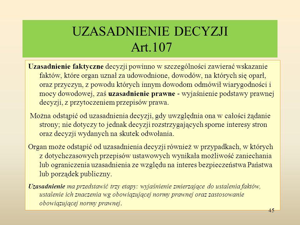 UZASADNIENIE DECYZJI Art.107